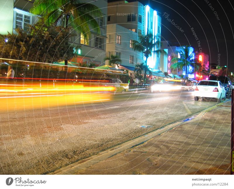 Ocean Drive at night Miami Neon light Night Exposure Florida North America USA Street Car south beach