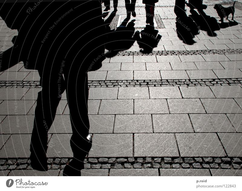 shadowy existence. Light Sundial Asphalt Footwear Hot Burn Cold Pattern Pedestrian Town Shadow Darken Pavement Munich Footpath Bright Shadowy existence Sunless
