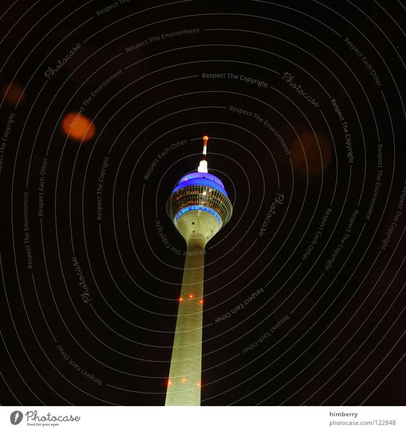 Blue Street Lamp Lighting Modern Lifestyle Tower Point Skyline Monument Landmark Duesseldorf Berlin TV Tower Rhine Night life