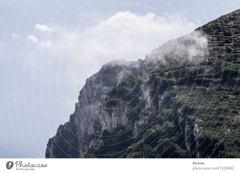 dissolved Landscape Elements Sky Clouds Beautiful weather Rock Mountain Cliff Above Blue Gray Green Easy Transparent Steep Steep face Colour photo Exterior shot