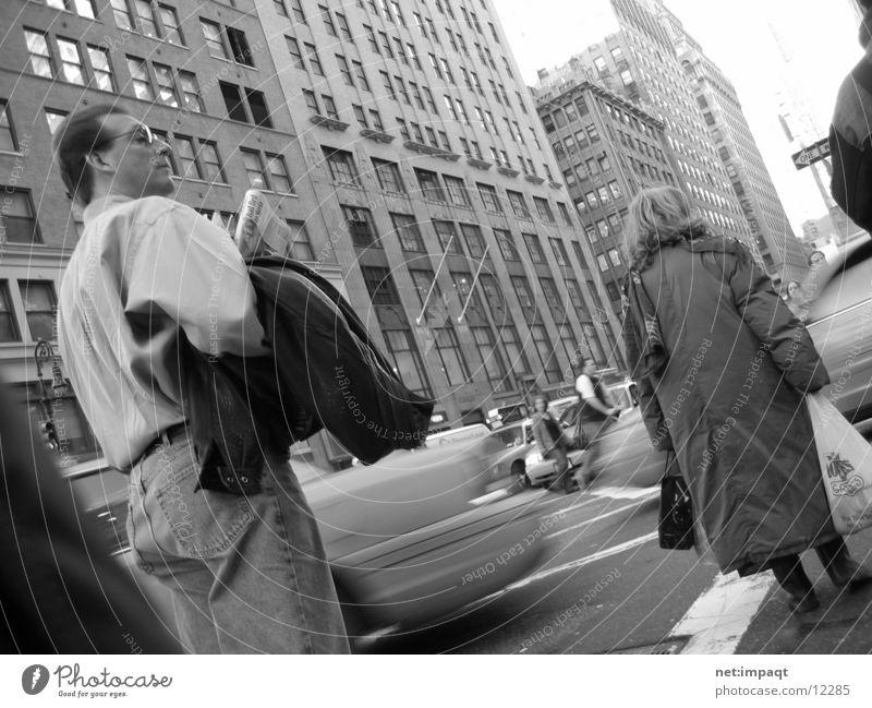 Woman Man Street Movement Group Transport New York City Pedestrian Street life