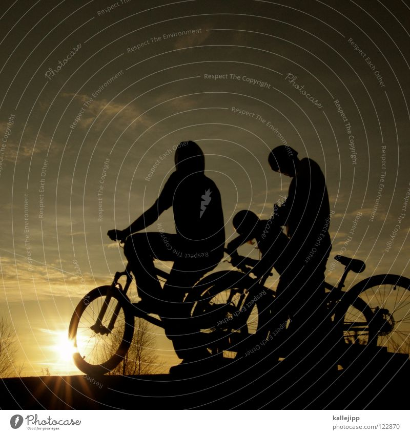 Human being Child Nature Sun Graffiti Playing Boy (child) Movement Jump Bicycle Leisure and hobbies 3 Multiple Action Fellow Mountain bike