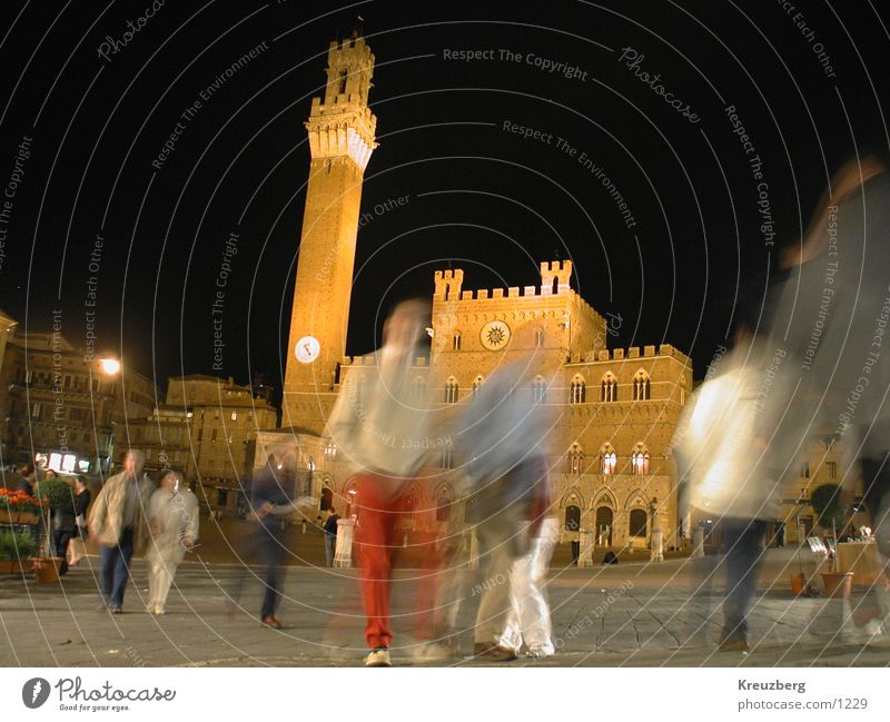 Siena, Piazza del Campo at night Italy Tuscany Night shot Places Blur City hall Club Human being