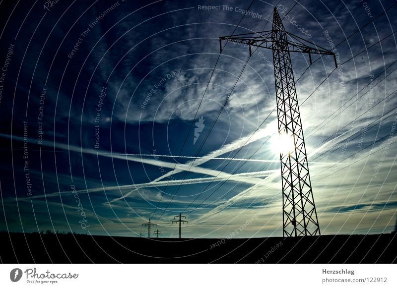Under voltage Electricity Clouds White Electricity pylon Resist Thunder and lightning Transmission lines Blue Sky Contrast Colour amp