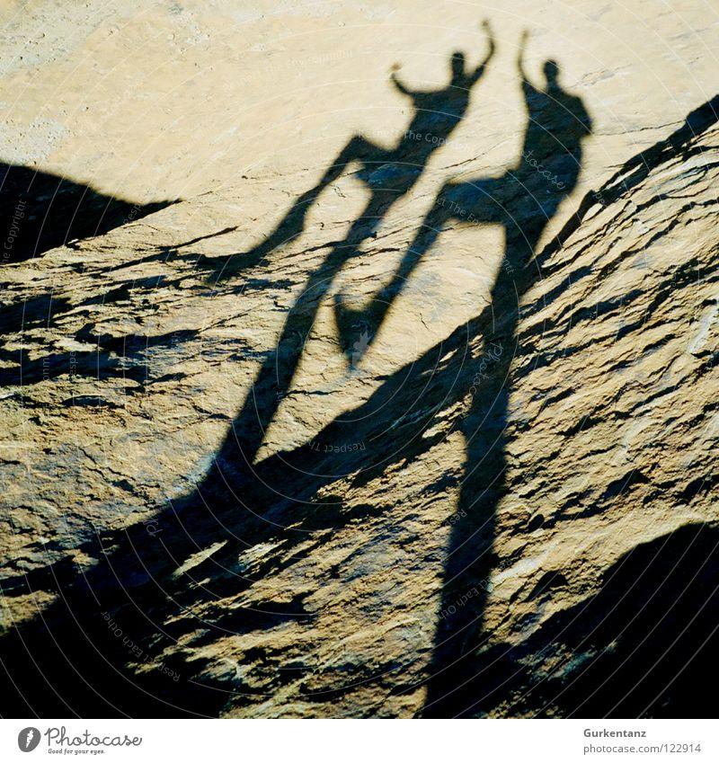 puppet shadow Fidget Wave Turkey Cappadocia Duet Man Joy Stone Minerals Shadow Human being Silhouette Jumping jack