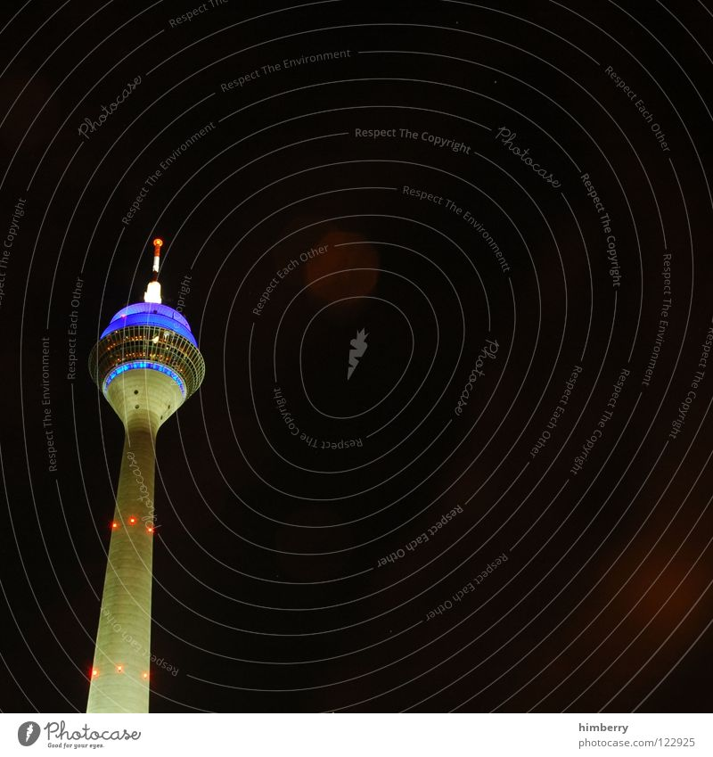 radiotowercase II Rheinturm Lifestyle Night life Transmit Transmitting station Landmark Monument Modern Duesseldorf Rhine Berlin TV Tower Evening Street Blue