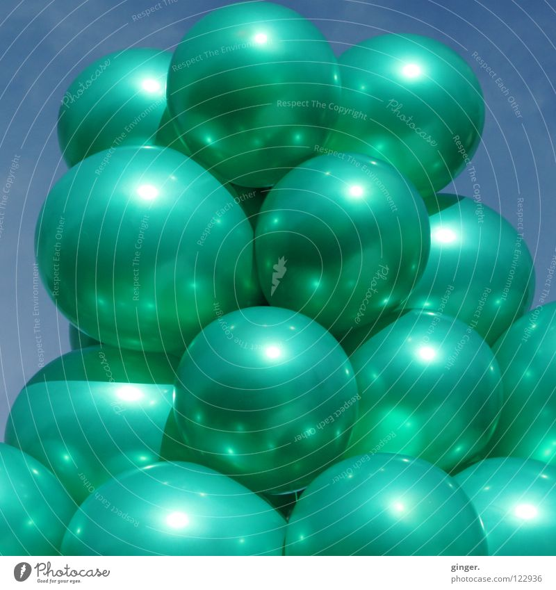 Sky Green Metal Glittering Large Multiple Balloon Turquoise Full Bunch of grapes Inflated Interconnected