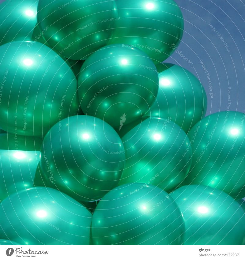 Sky Blue Green Metal Glittering Balloon Many Turquoise Ease Inflated Highlight Interconnected