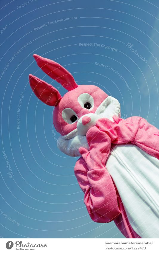 Summer Joy Animal Funny Art Pink Fear Esthetic Symbols and metaphors Fear of the future Carnival Hare & Rabbit & Bunny Work of art Costume Carnival costume