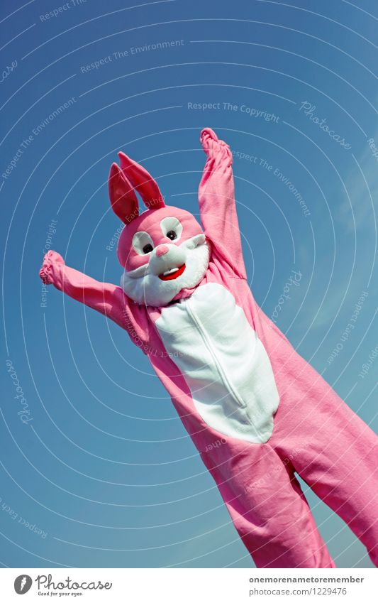 Joy Funny Art Pink Esthetic Arm Ease Positive Hare & Rabbit & Bunny Work of art Costume Carnival costume Applause Comical Funster Roasted hare
