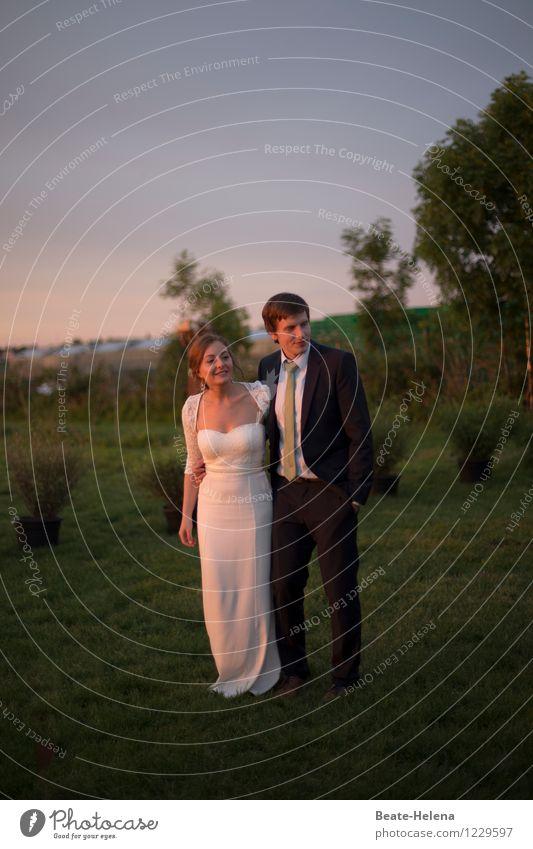 Good prospects Lifestyle Wedding Couple Partner Nature Sunrise Sunset Tree Bushes Park Fashion Dress Suit Love Illuminate Natural Green Black White Trust
