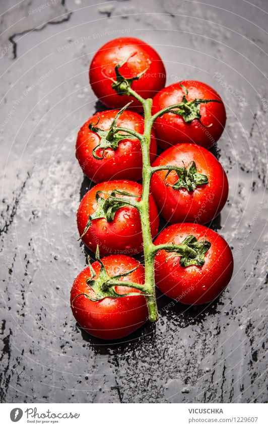 Fresh tomatoes on a black background Food Vegetable Nutrition Lunch Organic produce Vegetarian diet Diet Italian Food Style Design Healthy Eating Life Tomato