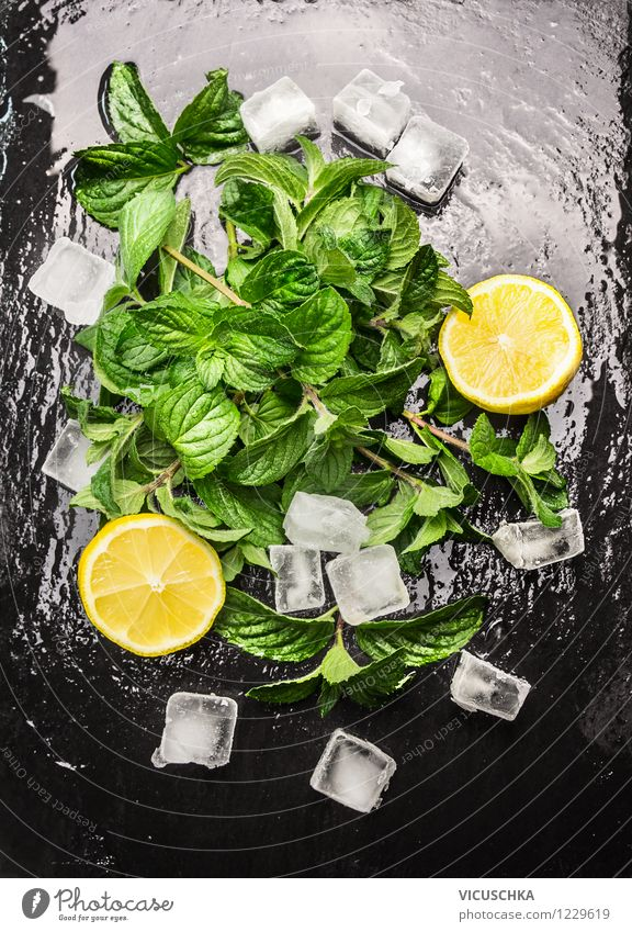 mint, lemon and ice cubes for a soft drink Food Fruit Herbs and spices Organic produce Beverage Lemonade Style Design Healthy Eating Life Table Fragrance Mint