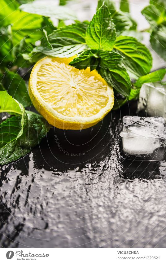 Lemon, mint and ice cubes for lemonade Food Fruit Herbs and spices Nutrition Organic produce Vegetarian diet Diet Beverage Lemonade Juice Style Design