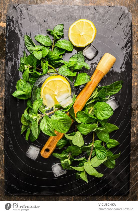 Mint, lemon and ice cubes for lemonade Food Fruit Herbs and spices Organic produce Beverage Lemonade Longdrink Cocktail Style Design Life Summer Table Yellow
