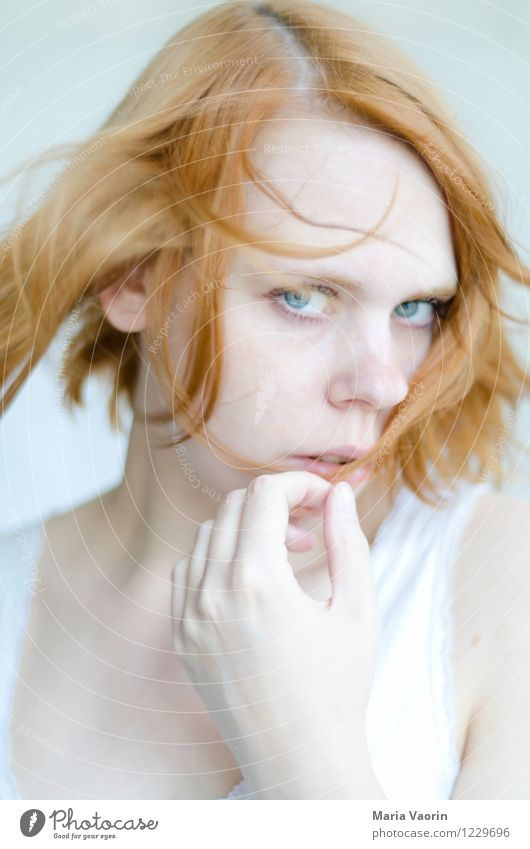 girl in the wind Human being Feminine Young woman Youth (Young adults) 1 18 - 30 years Adults Red-haired Long-haired Part Touch Looking Dream Beautiful