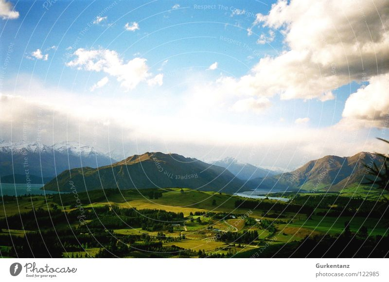 Natural painting 2 New Zealand Green Grass Lake Tree Forest Peak Horizon Clouds Paintbox Painting and drawing (object) Mountain Beautiful Fragment Landscape
