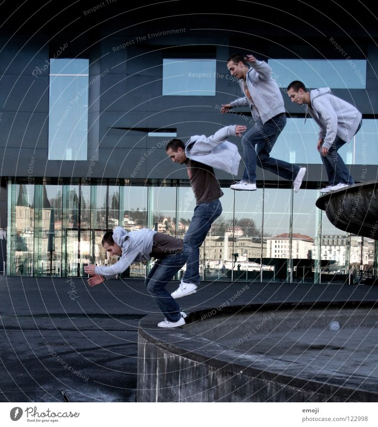 the sandybrunnenjump Jump Photography 4 Man Hop Places Lucerne Building Mirror Stunt Stuntman Montage Row Snapshot Traffic infrastructure Playing Image Multiple