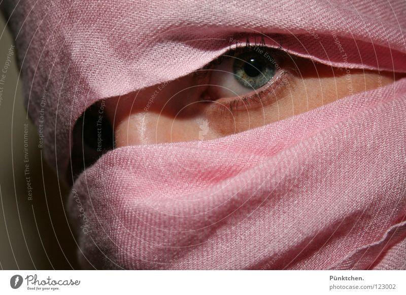 Eyes look! Eyelash Pupil Pink Green Gray Black Wall (building) Wrapped around Cheek Vulnerable Feeble Fear Caution Hesitate Wink Woman Iris Shadow lash line