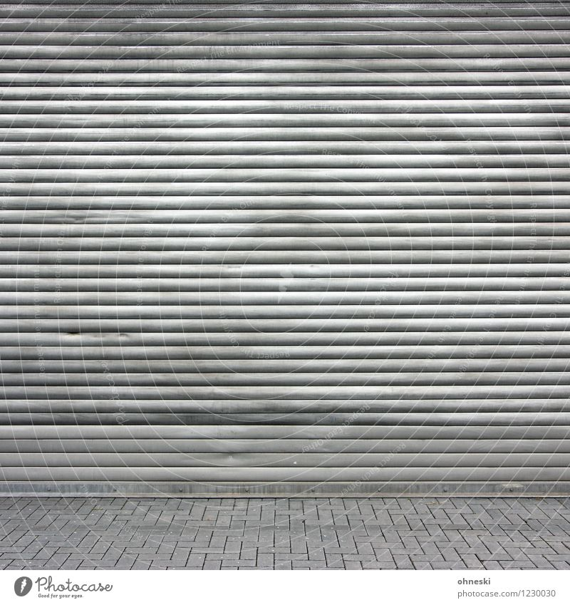 Fifty Shades of Grey Factory Manmade structures Facade Roller shutter Roller blind Courtyard Stone Metal Line Gray Crisis Closed Dirty Colour photo