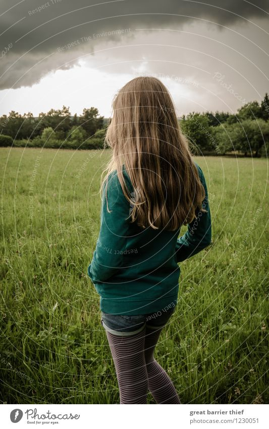 Human being Child Sky Nature Green Landscape Clouds Animal Girl Environment Meadow Feminine Gray Hair and hairstyles Rain Field