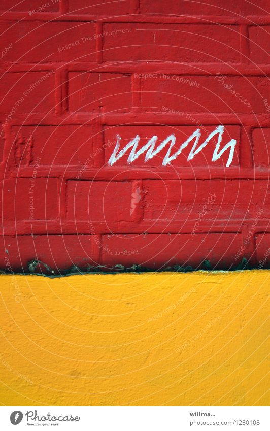 Doodle on red house facade Wall (barrier) Wall (building) Write Yellow Red Scribbles Brick wall ekg Graph Graffiti Life line illiteracy Characters Written