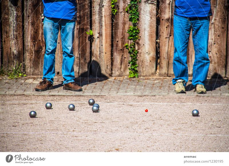 shot put Sports Ball sports Boules Sporting Complex Sporting event Human being Masculine Adults Legs 2 45 - 60 years Sand Playing Stand Throw Together Blue