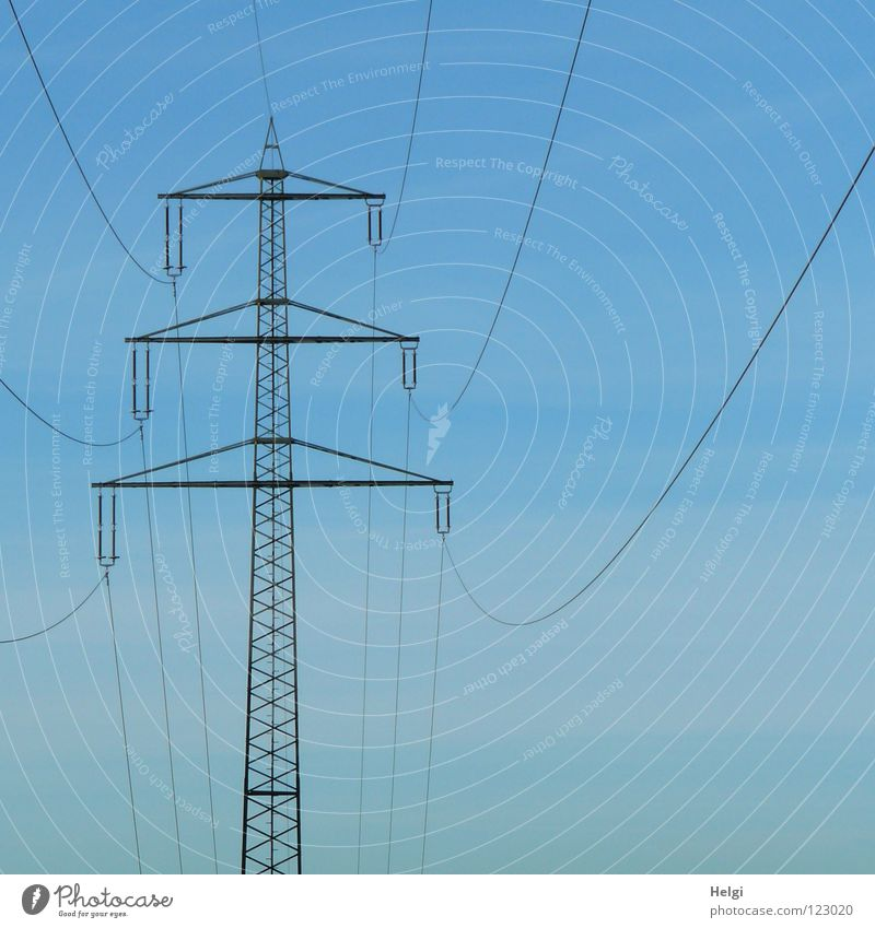 streamlined Electricity pylon Wire Large Might Geometry Steel Towering Dangerous Transmission lines Danger of Life Colossus Energy industry Across Aspire Long