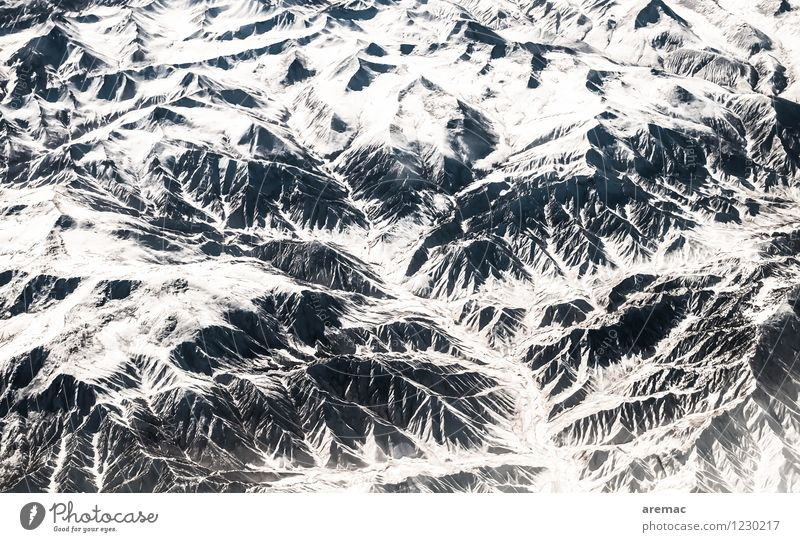 Himalayas Nature Landscape Winter Ice Frost Snow Mountain Peak Flying China Airplane Colour photo Subdued colour Exterior shot Aerial photograph Abstract