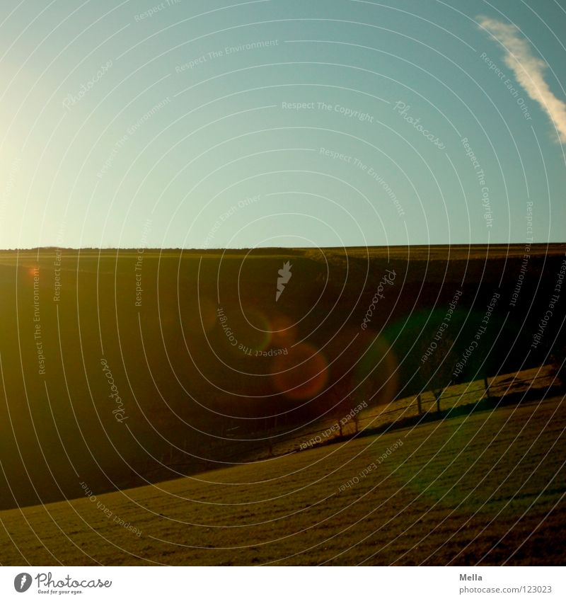 100! - Light and shadow Field Back-light Dark Hill Meadow Green Spring Fresh Breathe Air Horizon Pasture Weather Sky Blue Shadow hilly Valley Americas