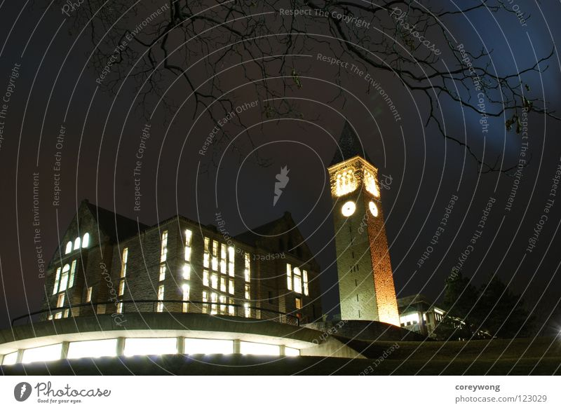 Cornell Night New York USA Education Ithaca Cornell Tower night Winter Night Uris Library Olin Library big red study