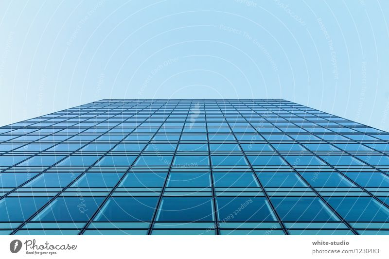 Blue Heaven Business Facade City life Office Glass High-rise Esthetic Tall Tower Putrefy Futurism Downtown Steel Pane