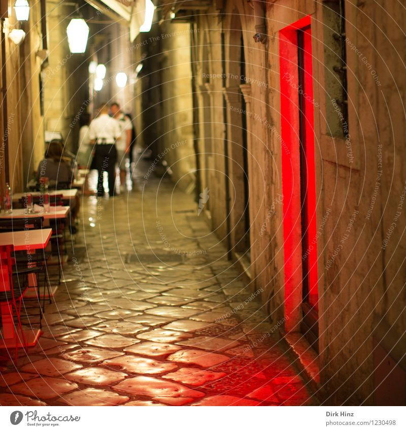 Red light in Dubrovnik Human being Woman Adults Man 4 18 - 30 years Youth (Young adults) Old town House (Residential Structure) Wall (barrier) Wall (building)
