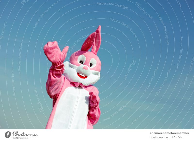 Hello! Art Work of art Esthetic Welcome Wave Friendliness Fond of children Playing Pink Hare & Rabbit & Bunny Hare ears Hare hunting Buck teeth Costume