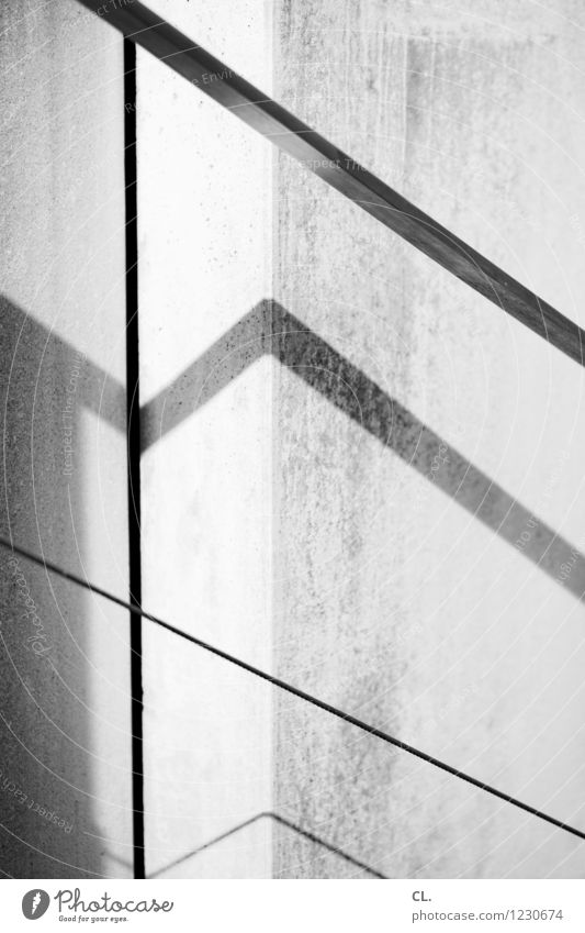 ramp in the light Wall (barrier) Wall (building) Banister Line Esthetic Sharp-edged Black & white photo Exterior shot Abstract Deserted Day Light Shadow