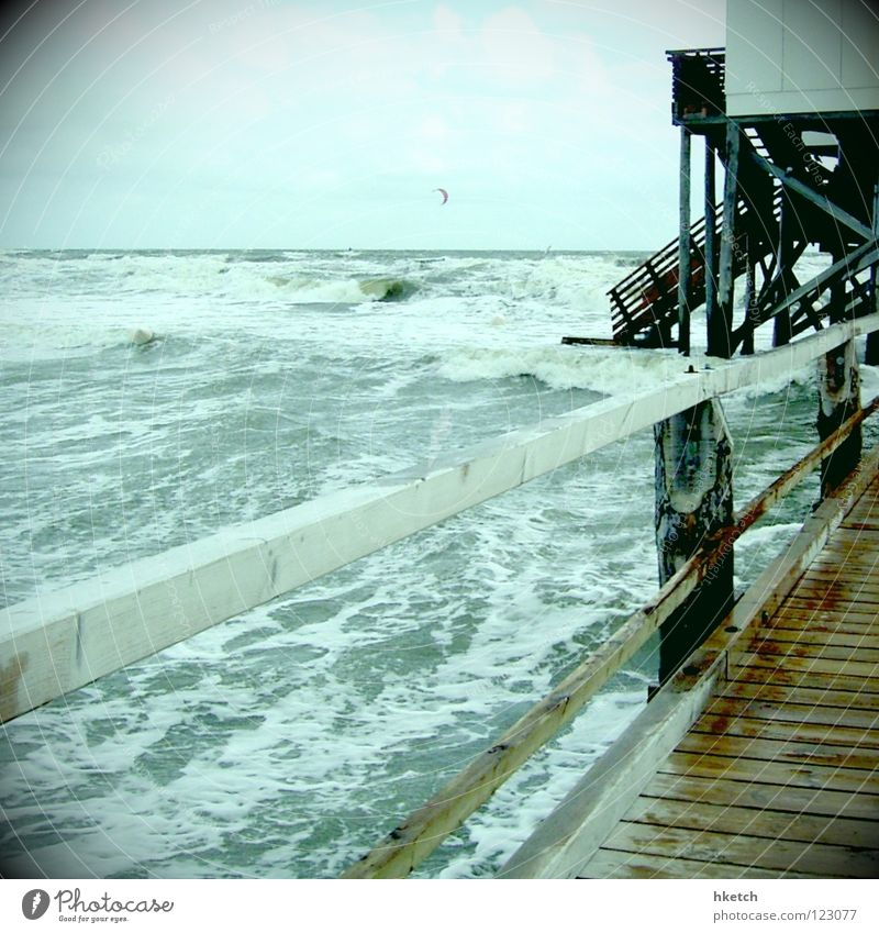 Nature Water Ocean Beach Autumn Waves Wind Weather Wet Gale Passion Footbridge Storm Helpless High tide White crest