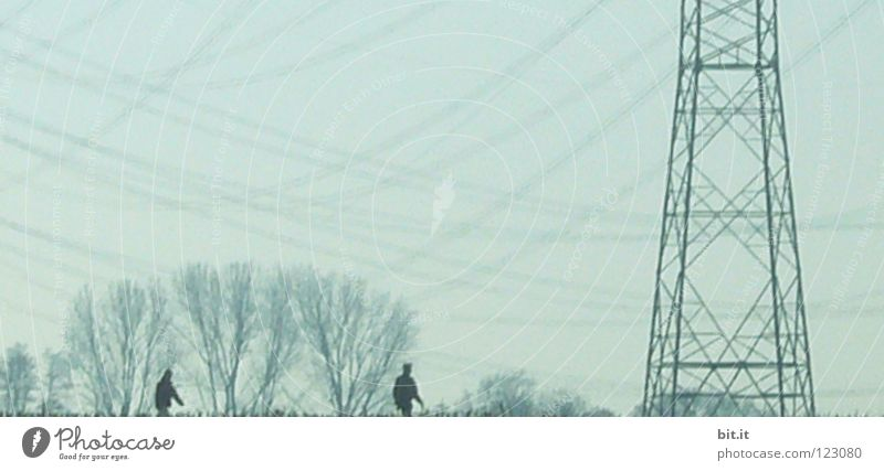 UNDER CURRENT G(ST)MARRIAGE Couple Going Electricity Electricity pylon To go for a walk Hang Rhein valley Weather Pattern Bad weather Sky Tree Winter Cold Fog
