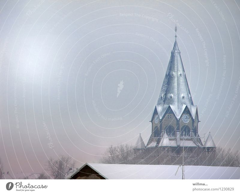 Calm Winter Cold Snow Religion and faith Church Belief Church spire Chemnitz Winter mood Winter's day Resting point