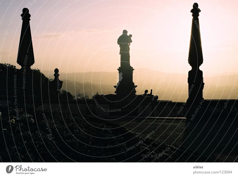 saint Sun City Summer Dark Stone Religion and faith Fog Church Night sky Statue Monument Past Historic Sculpture Landmark Portugal