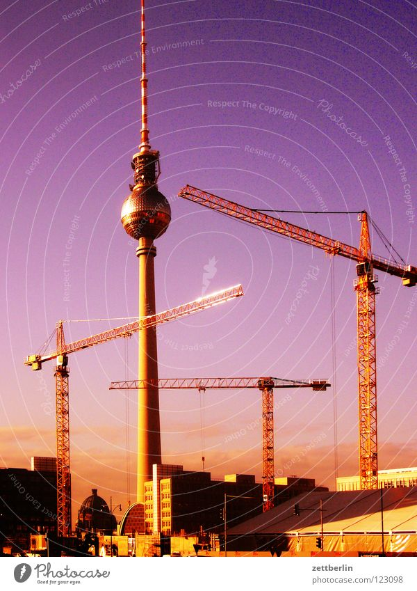 Sky City Berlin Construction site Monument Landmark Downtown Crane Dome Berlin TV Tower Dismantling Alexanderplatz Sky blue Montage Berlin Cathedral