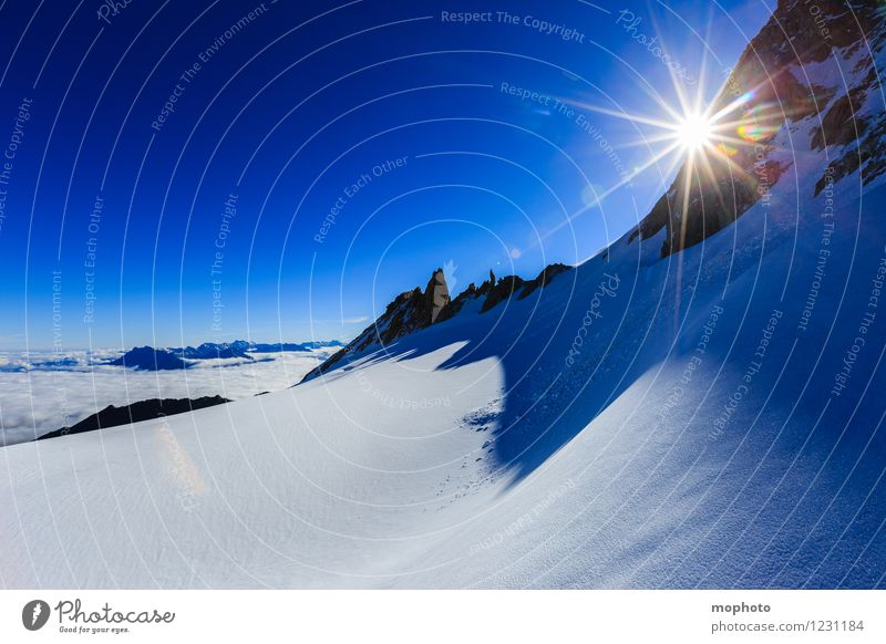 Nature Vacation & Travel Blue White Sun Landscape Mountain Environment Snow Rock Horizon Ice Leisure and hobbies Hiking Idyll Beautiful weather