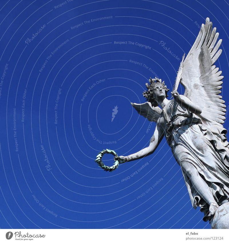 my angel. Siegburg Marketplace Statue Sculpture War Concrete Gray Costume Wreath Column Angel Peace free love Sky Blue world war I Flying Free Wing Freedom