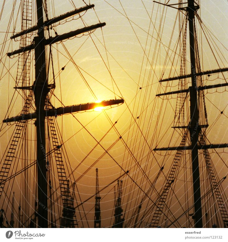 Beautiful Sky Sun Ocean Vacation & Travel Sadness 2 Rope Clarity Navigation Electricity pylon Expectation Wanderlust Crane Dusk Sailing ship