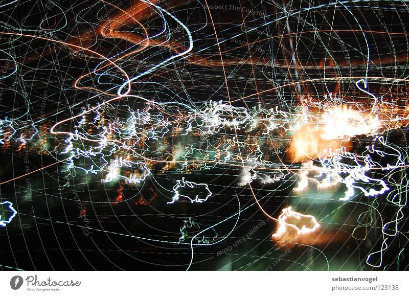 lights Long exposure Waves Dark Muddled Night Celestial bodies and the universe Light Lighting Colour Blur Line