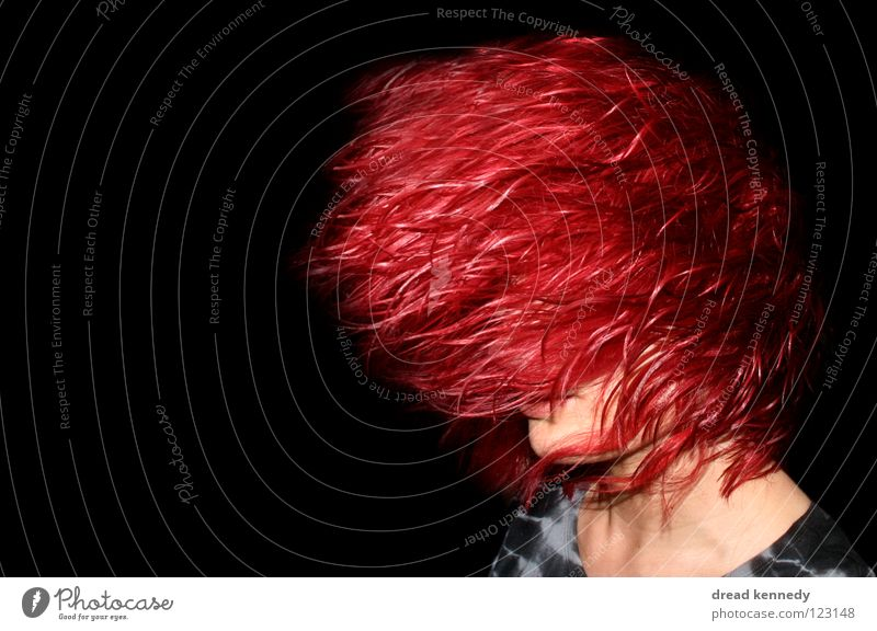 Red Head Colour photo Interior shot Copy Space left Copy Space top Copy Space bottom Flash photo Central perspective Looking away Hair and hairstyles