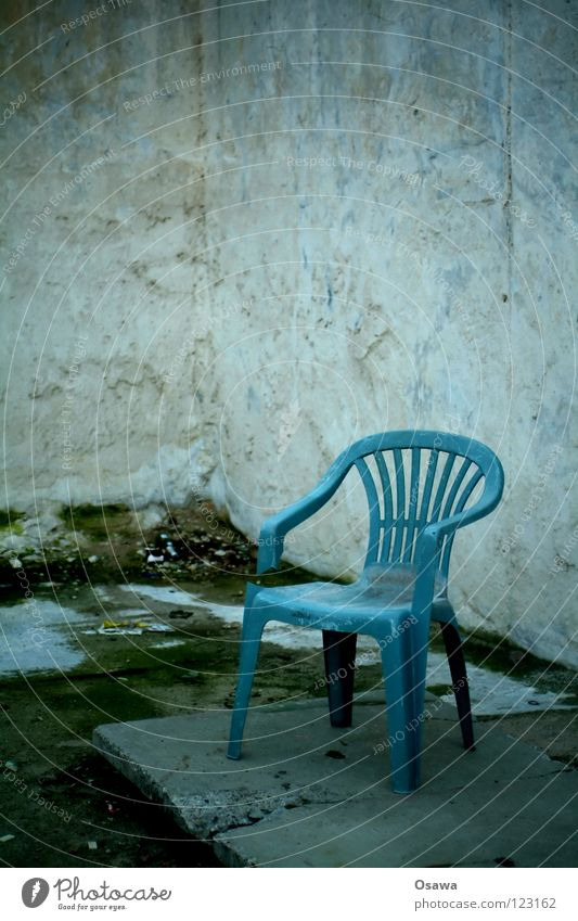 Old Blue Summer Wall (building) Gray Stone Dirty Concrete Corner Broken Grief Chair Plastic Furniture Distress Terrace