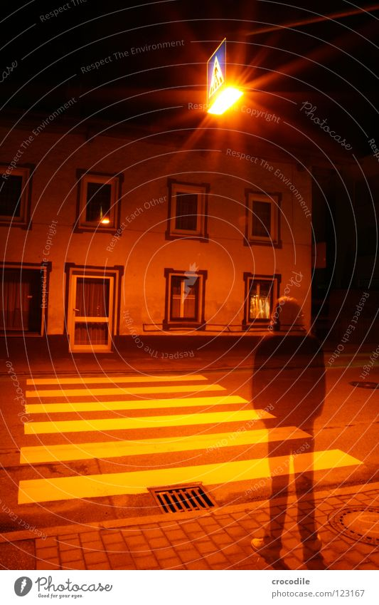 transience of being Town Zebra crossing Light Man Transparent House (Residential Structure) Lighting Oppressive Dark Mystic Night Long exposure Window