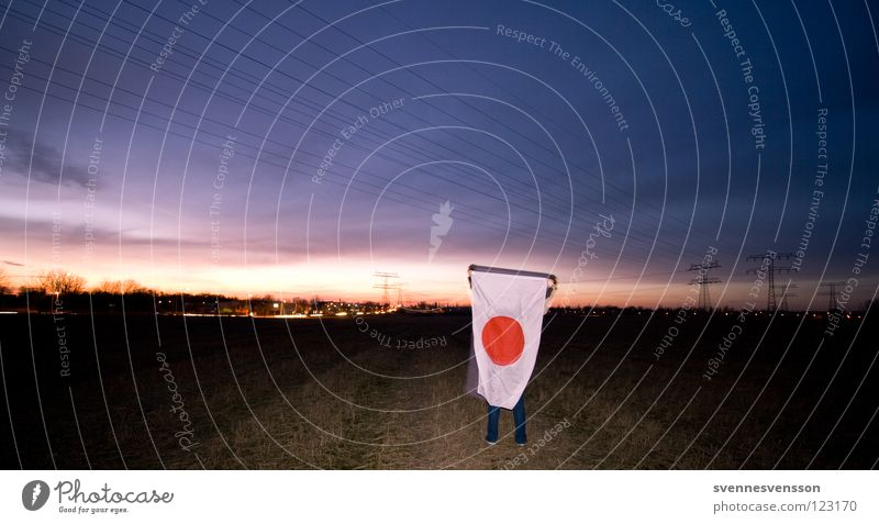 In the Land of the Rising Sun #1 Japan Flag Ensign Sunrise Sunset Morning Panorama (View) Nationalities and ethnicity Japanese Patriotism Asia Field Footpath