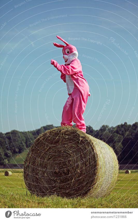 Joy Movement Funny Art Pink Esthetic Dance Tall Hare & Rabbit & Bunny Radio (broadcasting) Work of art Blue sky Carnival costume Comical Funster Hay bale