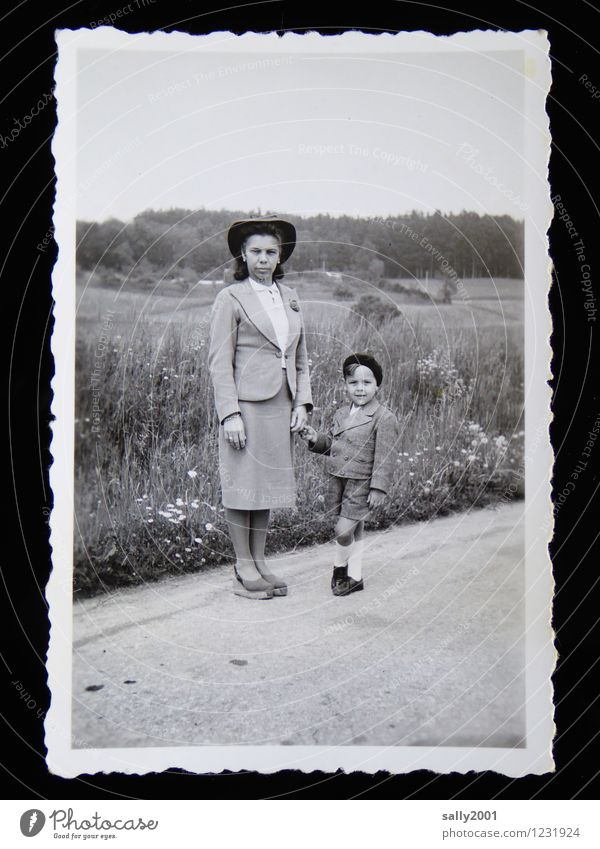 Human being Woman Old Adults Street Meadow Lanes & trails Boy (child) Together Contentment Leisure and hobbies Field Hiking Stand Photography To go for a walk